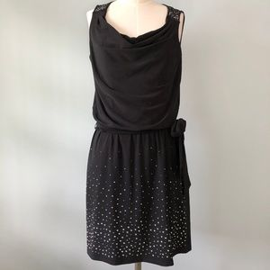 WHBM Black Cowl Neck Tie Waist Dress